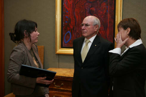 Telling John Howard about the cochlear implant with Maureen Shelley, Daily Telegraph Journalist.